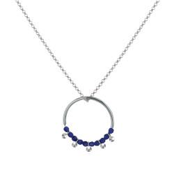 Collier Cercle Argent Perles de Lapis Lazuli Facettées et Perles Argent