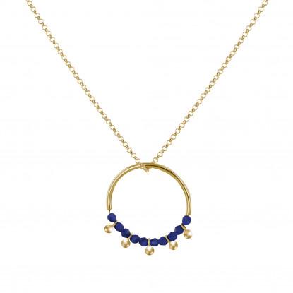Collier Cercle Argent Doré Perles de Lapis Lazuli Facettées et Perles Argent Doré