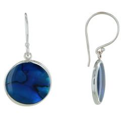 Boucles d'Oreilles Argent Disques Nacre Abalone Bleue