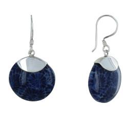 Boucles d'Oreilles Argent Disque Coquillage Teinté Bleu
