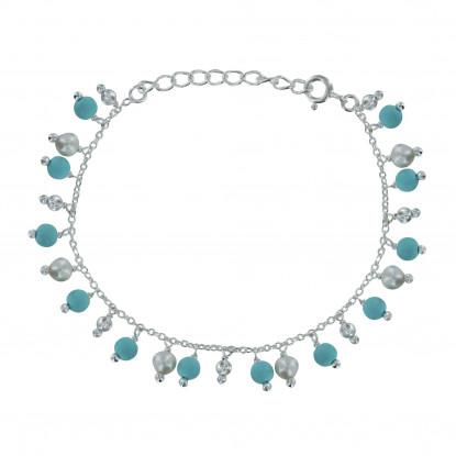 Bracelet Argent Breloques Perles de Culture et Turquoise Reconstitué