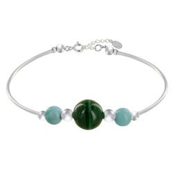 Bracelet Tubes Argent Une Perle de Malachite et Deux Perles de Larimar