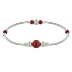 Bracelet Elastique Tubes Argent Rhodié Deux Anneaux de Larimar 5 Perles de Jaspe Rouge