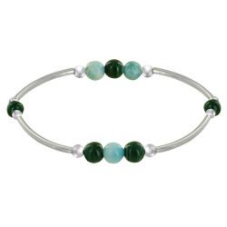 Bracelet Elastique Tubes Argent Rhodié Trois Perles de Larimar 5 Perles de Malachite
