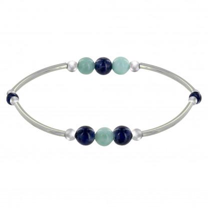 Bracelet Elastique Tubes Argent Rhodié Trois Perles de Larimar 5 Perles de Sodalite