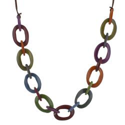 Collier Ovales en Tagua Multicolore Automne