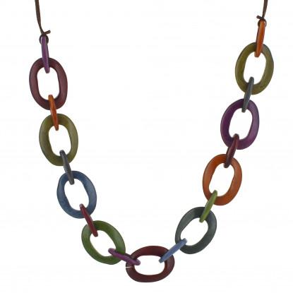 Collier Oval en Tagua Multicolore Automne