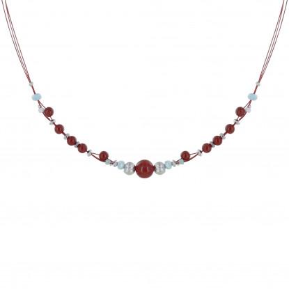 Collier Câbles Rouges Perles de Jaspe Rouge et Anneaux Facettés de Larimar