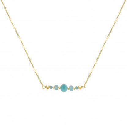 Collier Chaine Plaqué Or Une Perle et Quatre Anneaux Facettés de Larimar