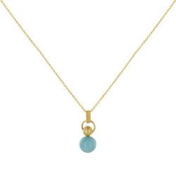 Collier Chaine Plaqué Or Perle de Larimar Anneau et Perle Plaqué Or