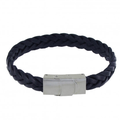 Bracelet Homme Cuir Bleu Foncé Tréssé Plat Fermoir Acier Inoxydable