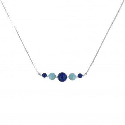 Collier Chaine Argent Rhodié Trois Perles de Lapis Lazuli et Deux Perles de Larimar