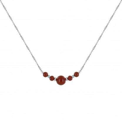 Collier Chaine Argent Rhodié Cinq Perles de Jaspe Rouge et Deux Anneaux Facettés de Larimar