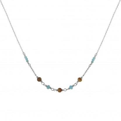 Collier Chaine Argent Rhodié Trois Perles de Jaspe Picasso et Huit Anneaux Facettés de Larimar