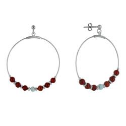 Boucles d'Oreilles Argent Rhodié Créoles Anneau Facetté de Larimar et Perles de Jaspe Rouge