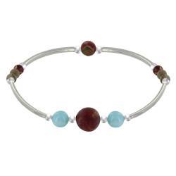 Bracelet Elastique Tubes Argent Rhodié Deux Perles de Larimar 8 Perles de Jaspe Picasso