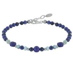 Bracelet Perles Lapis Lazuli Anneaux Facettés de Larimar