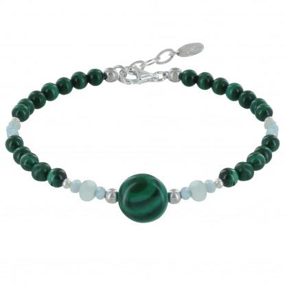 Bracelet Perles Malachite Anneaux Facettés de Larimar