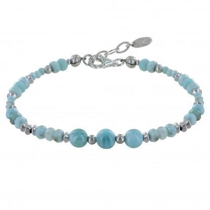 Bracelet Perles et Anneaux Facettés de Larimar
