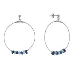 Boucles d'Oreilles Argent Rhodié Créoles Anneaux Facettés de Larimar et Pépites de Lapis Lazuli
