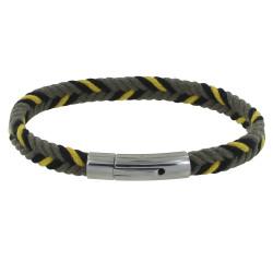 Bracelet Homme Chevron Kaki Jaune Noir