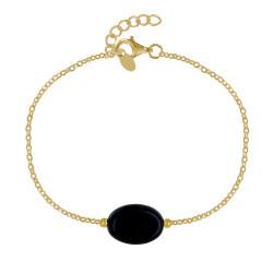 Bracelet Plaqué Or Pierre Ovale d'Agate Noire