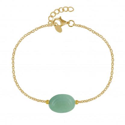 Bracelet Plaqué Or Pierre Ovale d'Aventurine