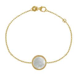 Bracelet Plaqué Or Rond de Nacre Ivoire