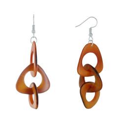Boucles d'Oreilles Pétales Ajourées de Tagua Bicolore
