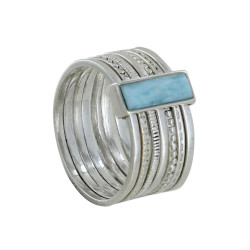 Bague Argent Semainier et Rectangle de Larimar