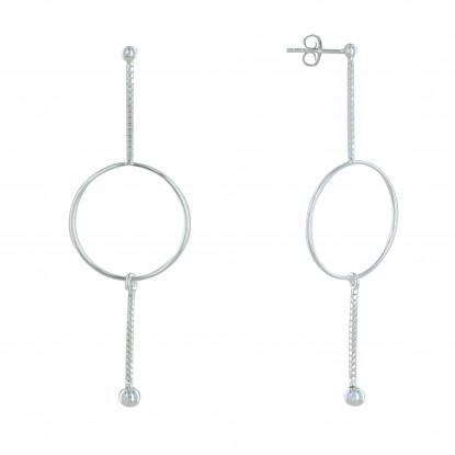 Boucles d'Oreilles Argent Deux Petites Chaines Vénitienne Cercle et Perles