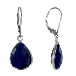 Boucles d'Oreilles Argent Goutte de Lapis Lazuli Facettée