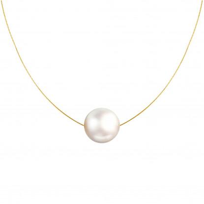 Collier Plaqué Or Perle des Poulettes Solitaire 11 mm