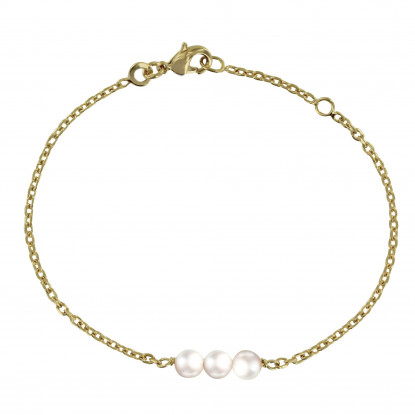 Bracelet Plaqué Or Trois Perles Blanches