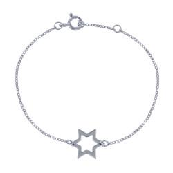 Bracelet Argent Rhodié Etoile Ajourée