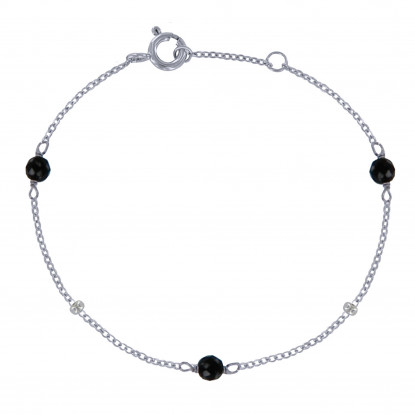 Bracelet Argent Rhodié Trois Perles d'Onyx Noires Facettées