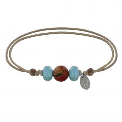 Bracelet Lien Une Perle Jaspe et Deux Anneaux de Larimar