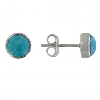 Boucles d'Oreilles Argent Cylindre de Turquoise