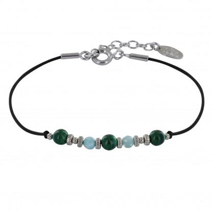 Bracelet Lien Trois Perles de Malachite et Deux Perles Facettées de Larimar