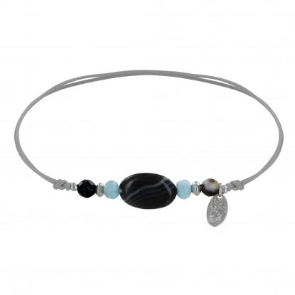Bracelet Lien Ovale, Perles Facettées d'Agate Noires et Deux Anneaux de Larimar Facettés