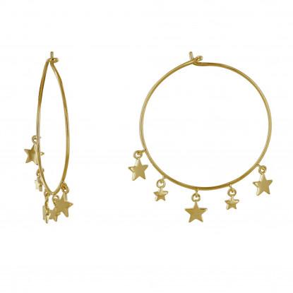 Boucles d'Oreilles Plaqué Or Créoles Breloques Petites Étoiles