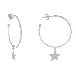 Boucles d'Oreilles Argent Créoles et Pendentif Étoile