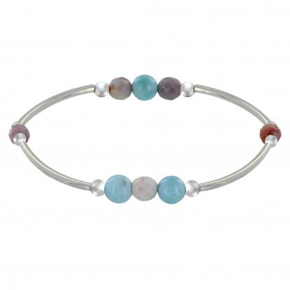 Bracelet Elastique Tubes Argent Rhodié Trois Perles de Larimar 5 Perles d'Agate Rose Facettées