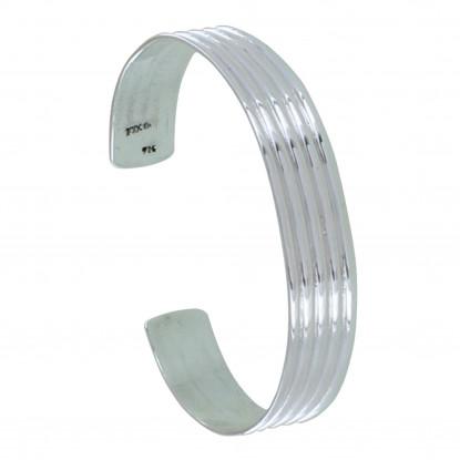 Bracelet Argent Demi Jonc Cinq Rangs
