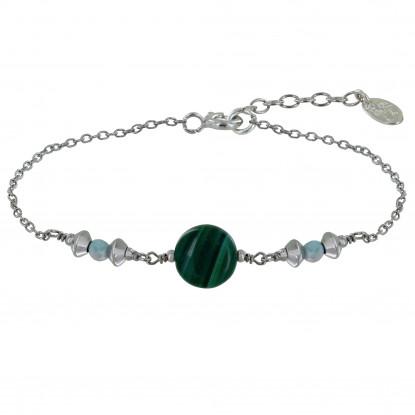 Bracelet Argent Rhodié Un Bouton de Malachite Deux Perles de Larimar Facettéés et Perles Argent
