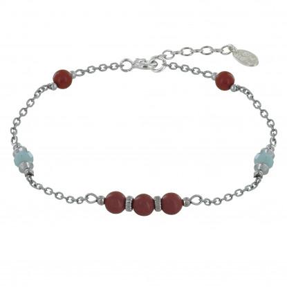 Bracelet Argent Rhodié Cinq Perles de Jaspe Rouge Deux Perles de Larimar Facettéés et Perles Argent