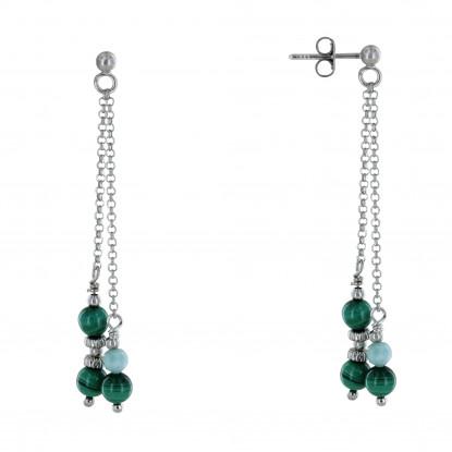 Boucles d'Oreilles Argent Rhodié Trois Perles de Malachite Une Perle de Larimar Facettée Anneaux Zébrés et Perles Argent