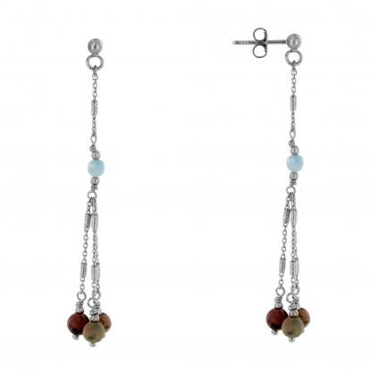 Boucles d'Oreilles Argent Trois Perles Jaspe Picasso et Une Perle de Larimar Facettée