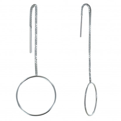 Boucles d'Oreilles Argent Chaine Vénitienne et Cercle