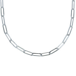 Collier Argent Mailles Ovales
